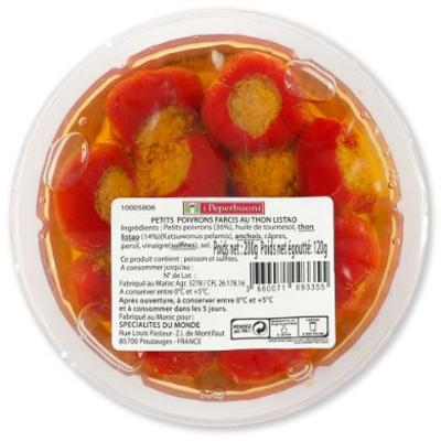 petits poivrons farcis au thon 200g I Peperbuoni